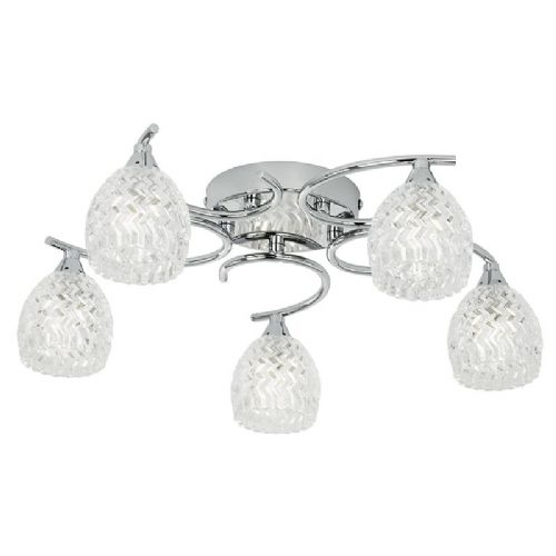 Chrome effect plate & clear glass with pattern detail Semi Flush Light BOYER-5CH by Endon